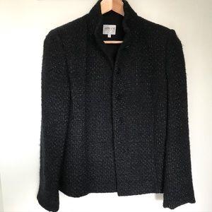 Armani Collezioni Midnight Blue Wool Blend Jacket
